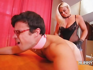 Charli uses a large strapon and cock to fuck Husband