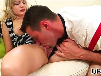 Creative oral sex with the model