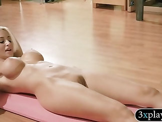 Busty babe gets herself naked before erotic games