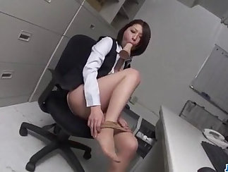 Amelia Raye Plays With Dildo In Office