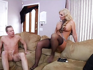 Cute and sexy tgirl in stockings rubs his rod