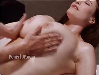 Big breasted nympho rides dick while showing off her massages