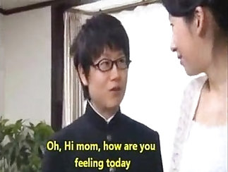 Asian ladyboy mom gets interrupted by her step sons boss