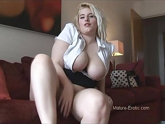 Amateur MILF in colorful pantyhose playing with big boobs