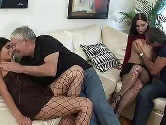 couple of horny ladies fuck a mature curvy and huge dude