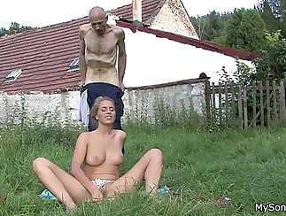 Burglary of a sexy young girl plays with pussy