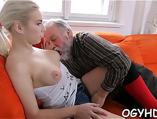 Sweaty white youth licking and flapping twat
